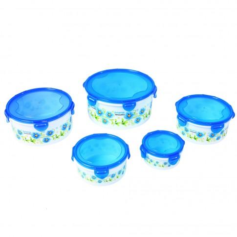 Caserole depozitare alimente, D2284, rotunde, plastic, set 5 bucati