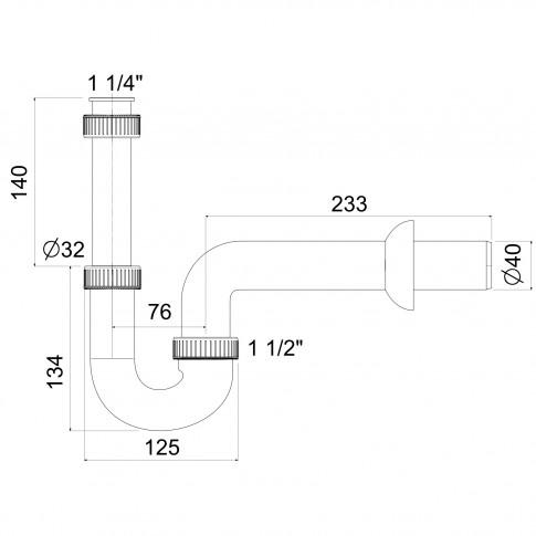 """Sifon pentru lavoar, Eurociere art. E1U2M, fara ventil, forma """"U"""", 1 1/4"""""""