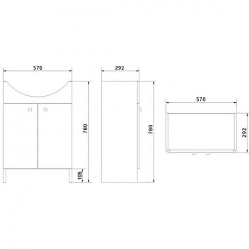 Masca baie + lavoar Cersanit Cersania S567 - 006 - DSM, cu usi, 60.5 x 84 x 41.5 cm