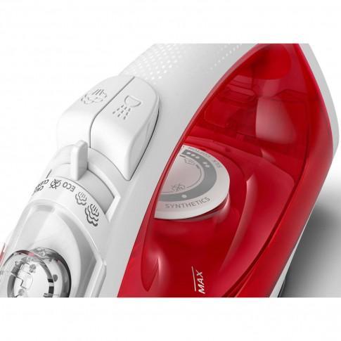 Fier de calcat Philips EasySpeed GC1742/40, 2000 W, talpa antiaderenta, 0.22 l, 90 g/min, setare Eco, sistem anti-calcar CalcClean, rosu