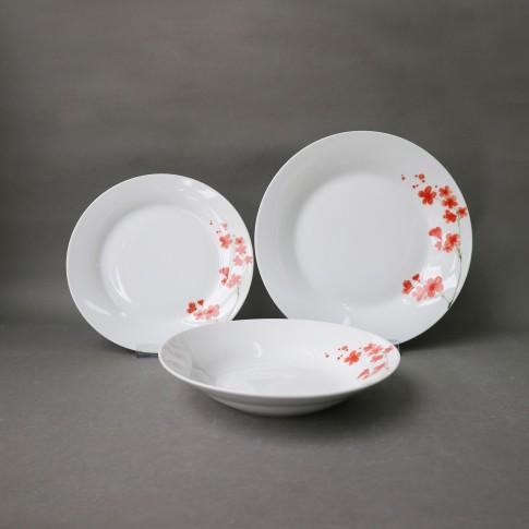 Set farfurii EY3443, portelan, alb + model floral rosu, 18 piese