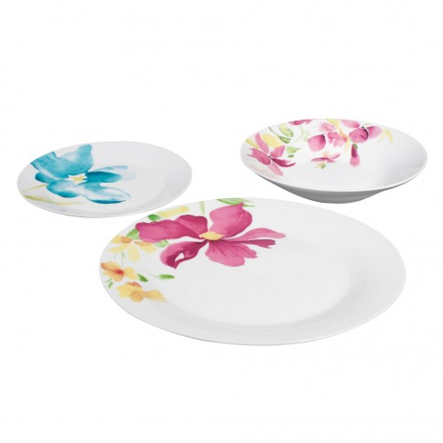 Set farfurii GX6, portelan, alb + model floral multicolor, 18 piese