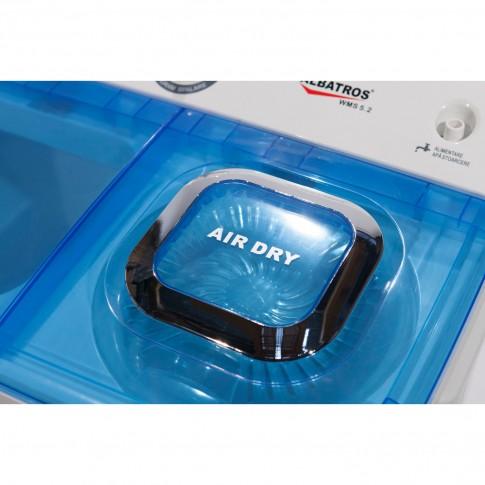 Masina de spalat rufe semiautomata Albatros WMS 5.2, 45 litri, spalare 5 kg, stoarcere 3.5 kg, alb cu albastru