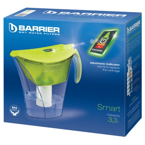 Cana de filtrare apa Barrier Smart Pistachio, verde, 3.3 litri, indicator LED de schimbare a cartusului