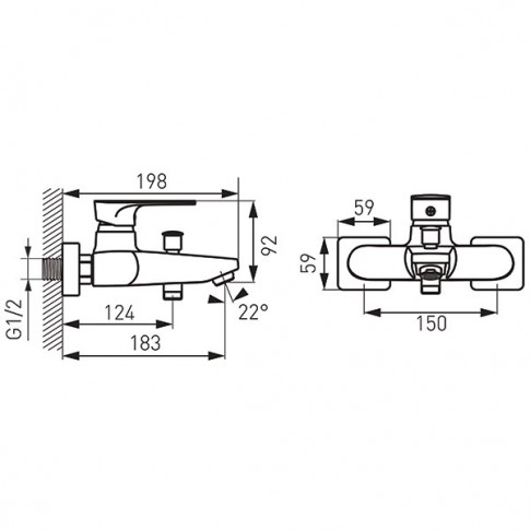 Baterie baie pentru cada / dus, Ferro Platto BPL1BLC, montaj aplicat, monocomanda, finisaj negru mat
