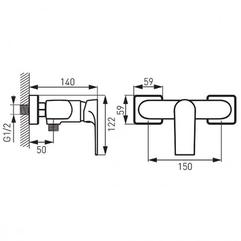 Baterie baie, pentru dus, Ferro Platto BPL7BLC, monocomanda, montaj aplicat, finisaj negru mat