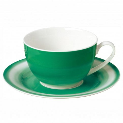 Ceasca si farfurioara SHZF9998, set 12 piese, portelan, verde + alb, 220 ml