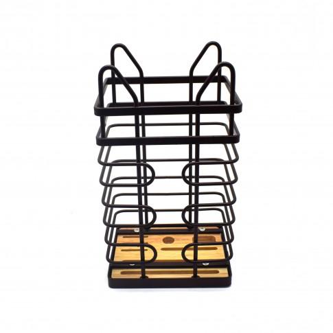 Suport bucatarie, pentru tacamuri, D2713, metal + lemn