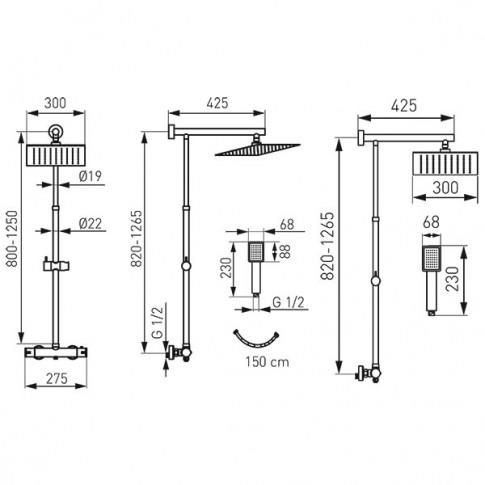 Sistem dus Ferro Trevi Square NP75SQ-TRV7U, baterie termostatata