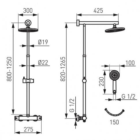 Sistem dus Ferro Trevi NP75-TRV7U-BL, baterie termostatata