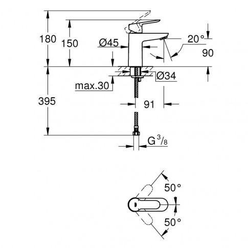 Pachet baterii baie + para dus + bara + furtun, Grohe Start Edge / Go, 1 functie, 1.75 m