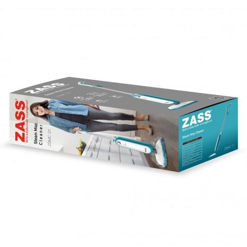 Aparat de curatat cu abur Zass ZSMC 01, 1300 W, capacitate rezervor apa 380 ml, sistem de pompare pentru abur constant, alb + albastru