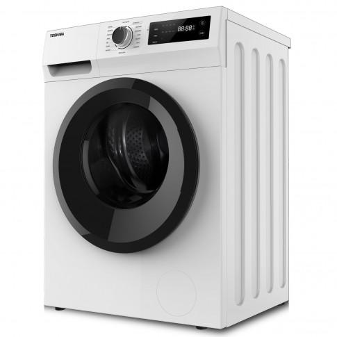 Masina de spalat rufe Toshiba TW-BJ80S2, 7 kg, 1200 rpm, clasa B, adancime 53 cm, motor Real Inverter, tehnologie The Greatwaves, sistem AquaStop, program curatare tambur, alba