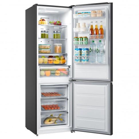 Combina frigorifica Toshiba GR-RB308WE-DMJ, 295 l, No Frost, clasa A++, inaltime 188 cm, tehnologie AlloyCooling, Dual-Temp Control, panou tactil digital, zona de racire unica, argintie