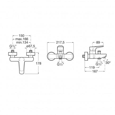 Baterie baie pentru cada / dus, Roca Atlas A5A0290C00, montaj aplicat, monocomanda, finisaj cromat