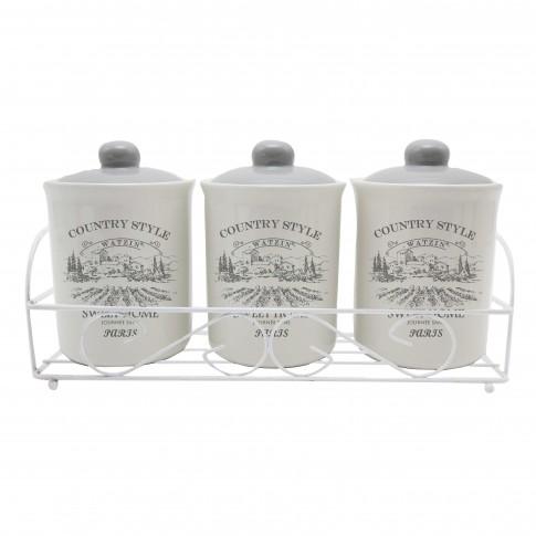 Recipiente pentru bucatarie + suport HC3D01AJ-G40, alb, ceramica + metal, set 3 bucati