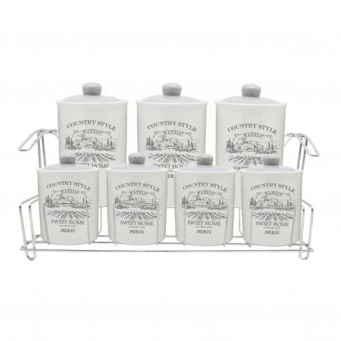 Recipiente pentru bucatarie + suport HC3D01C+3D01D-G40, alb, ceramica + metal, set 7 bucati