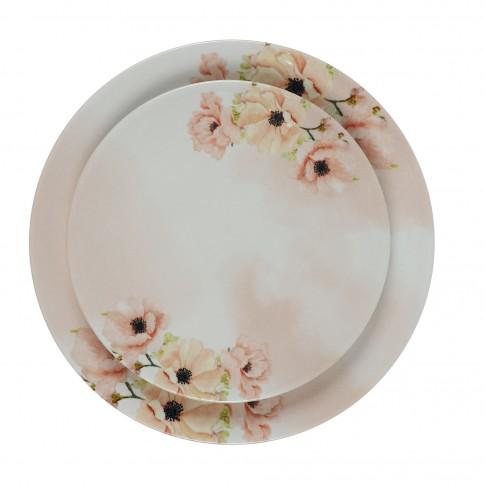 Farfurie intinsa mare, Monaco Pink Flowers 21I29, ceramica, model floral, 26 cm