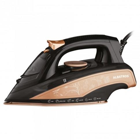 Fier de calcat Albatros Rosa, 3000 W, talpa ceramica, 0.45 l, 120 g/min, functie de auto-curatare, functie anti-picurare, functie anti-calcar, oprire automata, negru