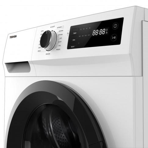 Masina de spalat rufe Toshiba TW-BJ90S2, 8 kg, 1200 rpm, clasa B, adancime 60 cm, motor Real Inverter, tehnologie The Greatwaves, sistem AquaStop, program curatare tambur, alba