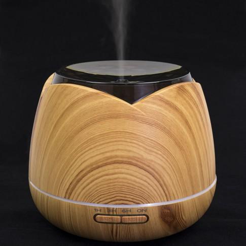 Difuzor ultrasonic PNI HU180, 400 ml, functie de umidificator, functie aromaterapie, functie de purificare aer, timer, 7 culori LED, inchidere automata, finisaj Wood Grain