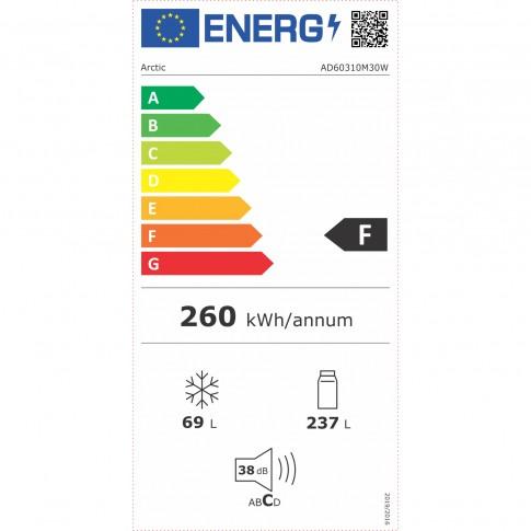 Frigider Arctic AD60310M30W, cu 2 usi si 4 rafturi, 306 litri, clasa F, alb, inaltime 175 cm, termostat reglabil, Eco LED, usi reversibile, materiale neinflamabile, compartiment Garden Fresh