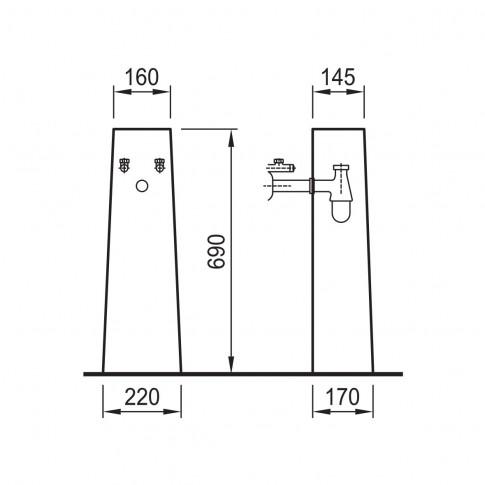 Piedestal lavoar, Fayans Neo ALB H8193900001799, 16 x 22 x 69 cm