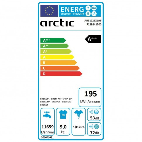 Masina de spalat rufe Arctic AB91223XLAB, 9 kg, 1200 rpm, clasa A+++, adancime 64 cm, motor Silent Inverter, Aqua Surf, Eco Heater, Eco Dose, Eco Wash, functie Add-in, curatare tambur, display LED, neagra