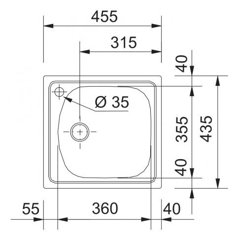 Chiuveta bucatarie inox dekor Franke ETL 610-36 patrata 45.5 x 43.5 cm + baterie Basic cromata