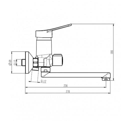 Baterie baie pentru cada / dus, Ferro Deco BDC3AC, montaj aplicat, monocomanda, finisaj cromat
