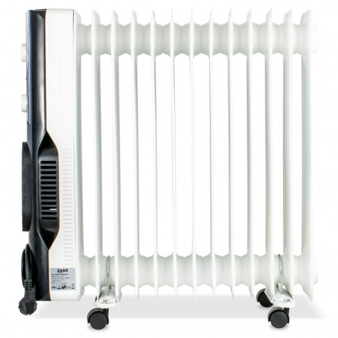 Radiator electric cu ulei Zass ZRL 13 N, 3 trepte, 2600 W, 620 x 140 x 650 mm, 13 elementi, termostat reglabil, protectie la supraincalzire, incalzire rapida cu aeroterma, indicator luminos de functionare, alb + negru