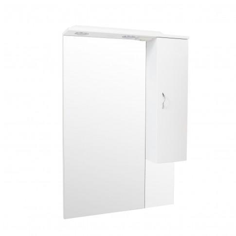 Dulap baie cu oglinda si iluminare, 1 usa, stanga, Savini Due Rimini 978LED/DR, alb, 81 x 106 x 17.5 cm