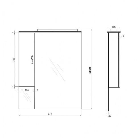 Dulap baie cu oglinda si iluminare, 1 usa, stanga, Savini Due Rimini 978LED/ST, alb, 81 x 106 x 17.5 cm
