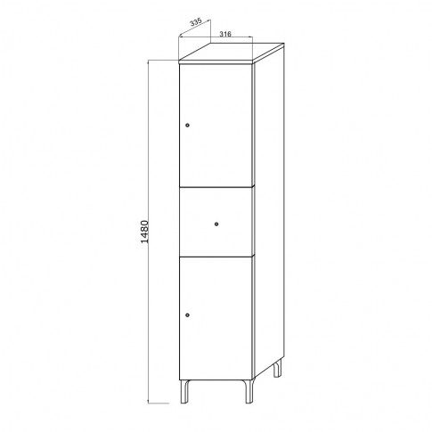 Dulap baie pe sol, 2 usi, cu sertar, Savini Due Facile, alb, deschidere dreapta, 31.6 x 33.5 x 148 cm