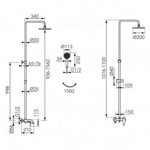 Sistem de dus Ferro Cordoba NP78-BCD13U