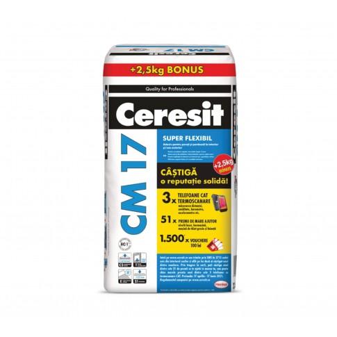 Adeziv super - flexibil pentru gresie si faianta Ceresit CM 17, interior / exterior, gri, 25 kg + 2.5 kg cadou