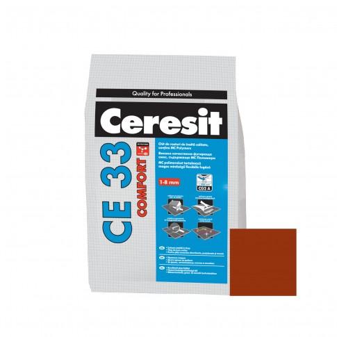 Chit de rosturi gresie si faianta Ceresit CE 33, caramiziu clinker, interior, 5 kg