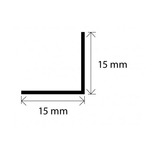 Profil de colt L din PVC, alb, 15 x 15 mm,  2.5 m