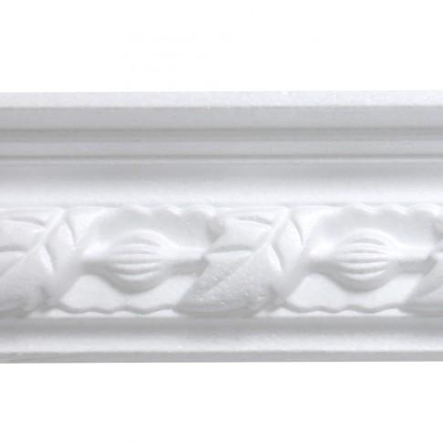 Bagheta polistiren decorativa C112-80 floral alb 200 x 6.5 x 4.5 cm