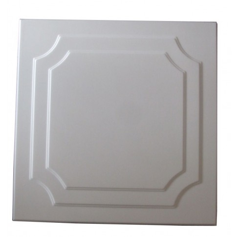 Tavan fals decorativ din polistiren C1001 clasic alb 50 x 50 x 0.3 cm