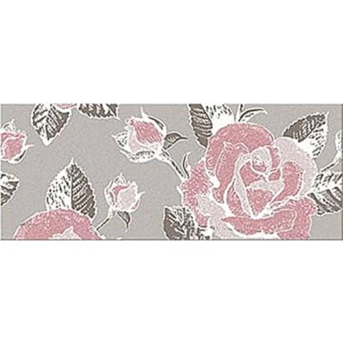 Decor faianta baie / bucatarie Bari Gris 2 floral lucios 20 x 50 cm