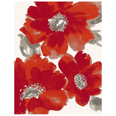 Covor living / dormitor McThree Casin 5021 8S17 polipropilena frize dreptunghiular rosu 80 x 150 cm