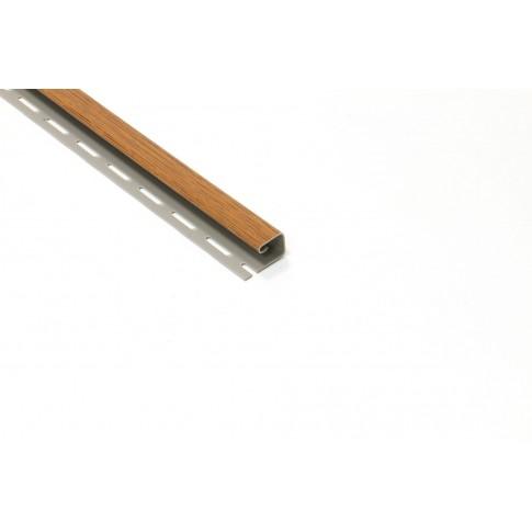 Profil margine J PVC, pentru lambriu exterior, Vox S-15, stejar auriu, 3.05 m