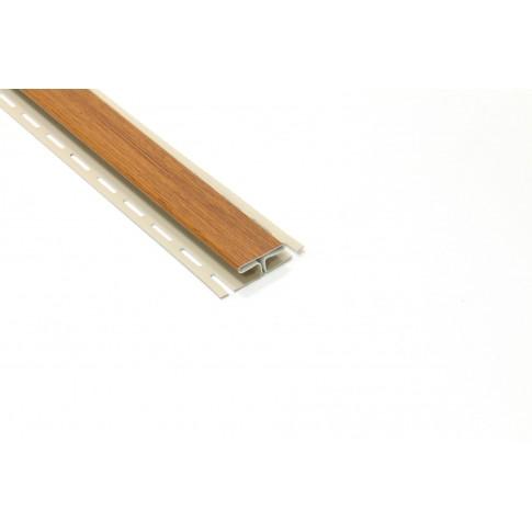 Profil imbinare H PVC, pentru lambriu exterior, Vox S-18, stejar auriu, 3.05 m