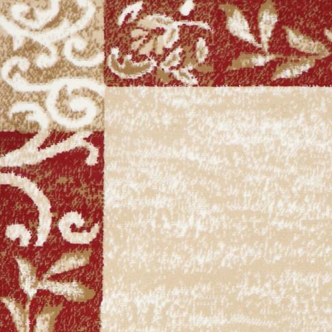 Covor living / dormitor Sintelon Practica 55ECC, polipropilena BCF, dreptunghiular, bej + rosu, 70 x 140 cm