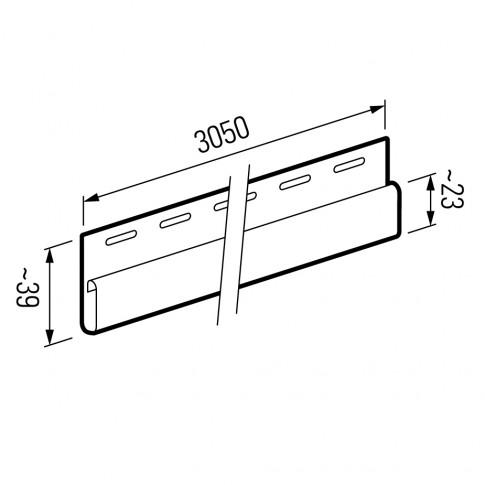 Profil de finisare Vox SV-14 pentru lambriu exterior, PVC, bej, 3.05 m