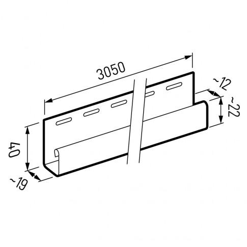 Profil margine J Vox SV-15 pentru lambriu exterior, PVC, alb, 3.05 m