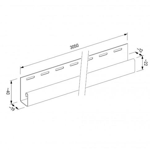 Profil margine J Vox SV-15 pentru lambriu exterior, PVC, bej, 3.05 m