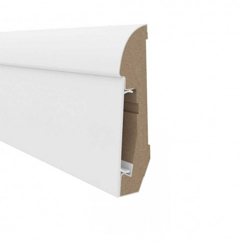 Plinta parchet MDF Estilo E101, alb, 2400 x 65 mm