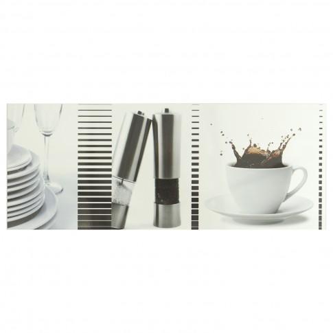 Decor faianta bucatarie Capuccino lucios negru 20 x 50 cm